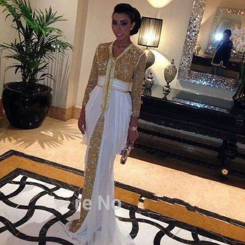 2015 Dubai Kaftan Formal Long Sleeve Muslim Evening Dresses Abaya White  Gold Sequin Moroccan Evening Gowns-in Evening Dresses from Weddings    Events on ... 5dd5e6d81581