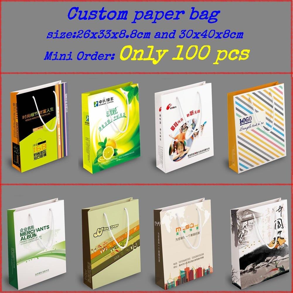 사용자 정의 인쇄 된 선물 종이 가방 / 로고 포장 가방 / 쇼핑 가방 / 포장 선물 가방 200pcs / lot