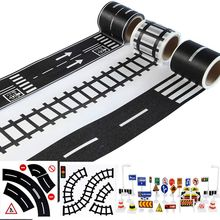 цены Play Road Tape for Toy Cars and Trains 3 Rolls 4.8cmx5m Straight Curve Track Traffic Signs - Kids Gifts