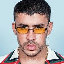 HAPTRON Small Rectangle Sunglasses Men Women Retro Metal Fra