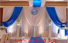 20ft*10ft Wedding backdrop wih beautiful swags royal blue with pute white clear style