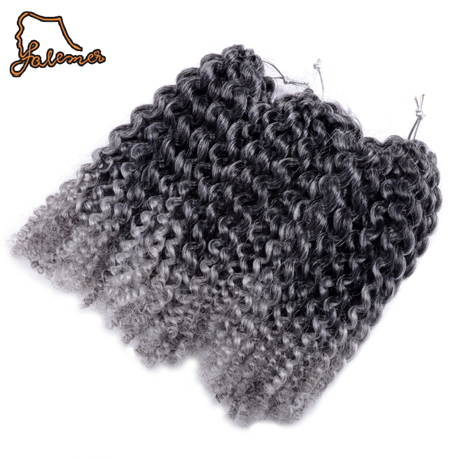 FALEMEI 90g/Set Crochet Braiding Hair Curly Marlybob Black Ombre Gray Synthetic Twist Hair Synthetic Kalekalon Hair Extensions