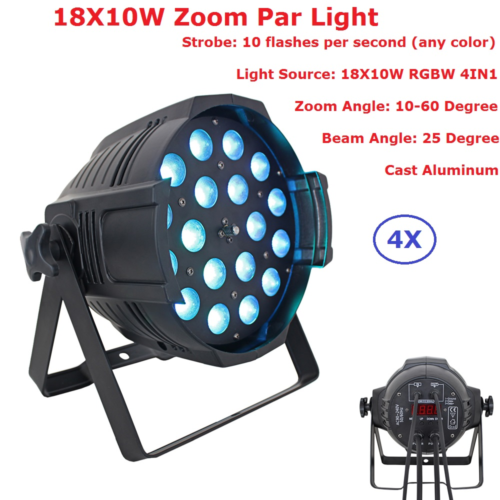 4 Pack DJ Lighting Equipments Disco DMX Lamp LED Zoom Par Light 18X10W RGBW 4IN1 Home Party Lights With 25 Degree Beam Angle