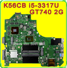 Original S56C S56CM K56C K56CB motherboard For Asus K56CM REV2.0 Mainboard I5-3317U Processor GT740 2G N14P-GE-OP-A2 100% Tested