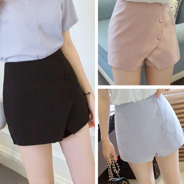 J2FE220 #8225 Del Verano Nuevas Mujeres de La Manera de La Cintura Faldas Sueltas Cortocircuitos Femeninos Básicos Elegantes pantalones de Pierna Ancha Pantalones Cortos