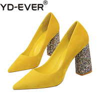 2019 Female 8cm High Glitter Heels Block Pumps Ladies Sexy Chunky Tacones Heels Woman Scarpin Elegant Party Wedding Yellow Shoes
