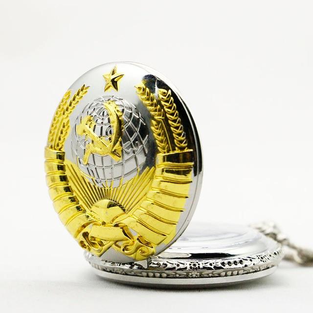 4 Colors Vintage Bronze New Soviet Sickle Hammer Style Quartz Pocket Watch Men Women Pendant