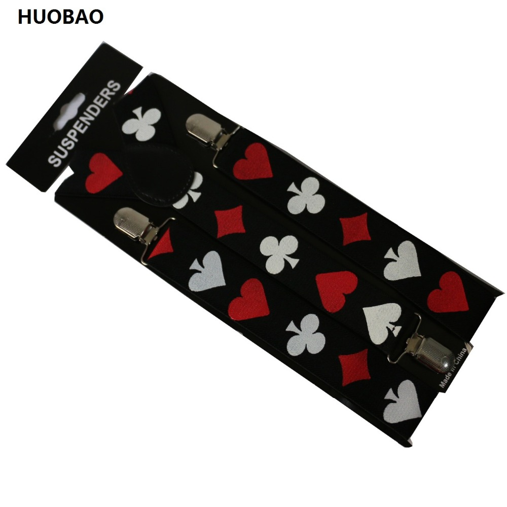 Free Shipping 2018 New Male Adjustable 3.5cm Wide Poker Printing Suspenders For Mens