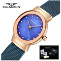 Женские часы-браслет GUANQIN  кварцевые часы из нержавеющей стали для повседневной носки