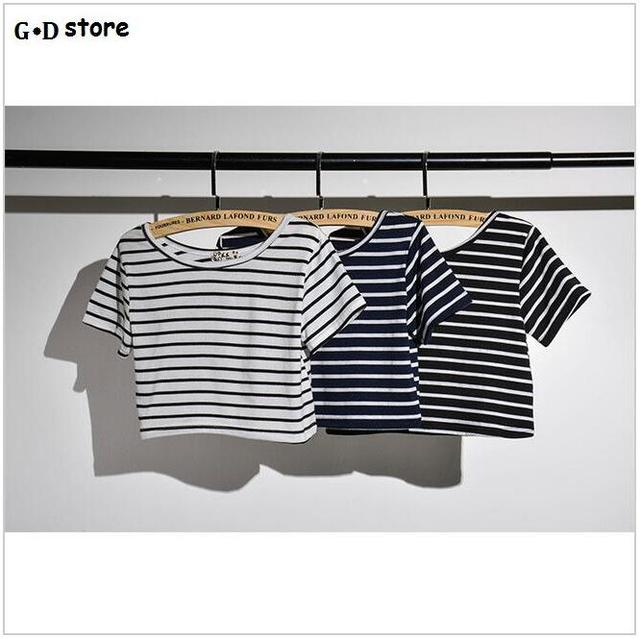 Women's Fashion Sexy Little Belly Black and White Striped Short Sleeve T-shirt
