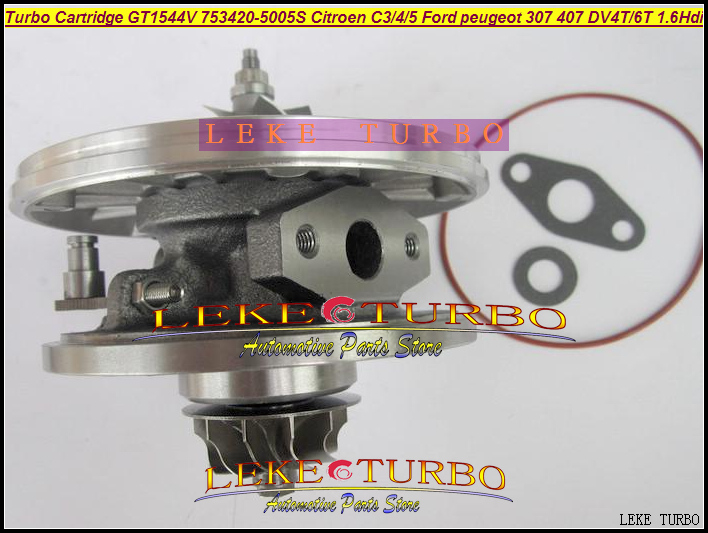 TURBO Cartridge CHRA GT1544V 750030 753420 740821 740821-0002 Turbocharger For FORD For CITROEN C3 C4 C5 307 407 DV4T DV6T 1.6L turbo cartridge chra gt1544v 753420 5004s 750030 0001 753420 750030 740821 for citroen c3 c4 c5 307 407 s40 v50 dv4t dv6t 1 6l