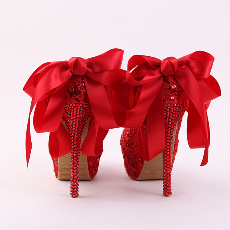 De Arc Femmes Mariée Strass Et Robe Mode Dentelle blue Rouge Ruban 14cm Color Mariage Glitter Pompes Talon Aiguille Red Heels Avec Main Chaussures Heel wqaxIpEOw