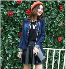 2016 denim coat  autumn&spring lady suit fashion crystal slim long sleev jeans kit lady sweater Women's Outerwear sweat shirt