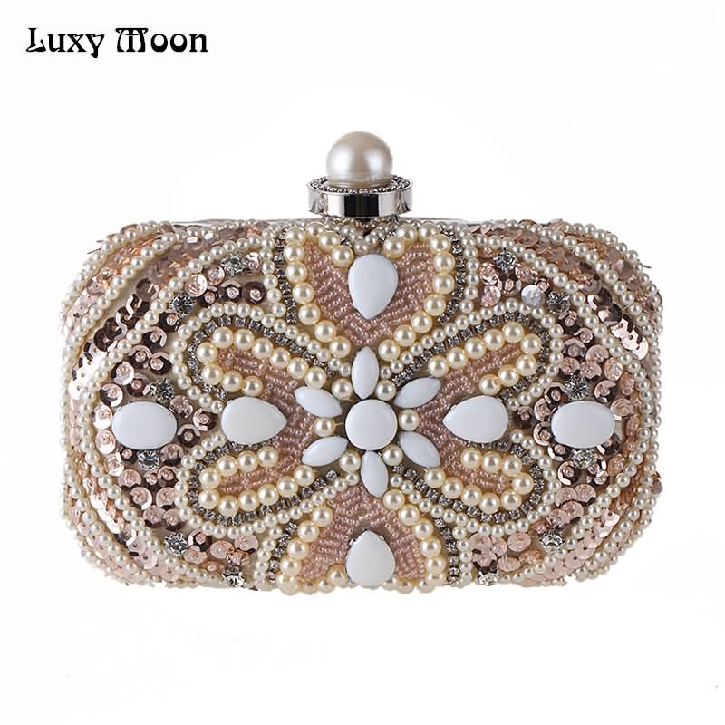 Luxy Moon Evening Bags Sequins Pearl Diamond Beaded Women's Purse Wedding Wallet Tote Clutch Shoulder Bags with Two Chain ZD685 luxy moon evening clutch bags new pu diamond floral hasp wedding purse tote wrist handbag for women day clutch with chain zd734