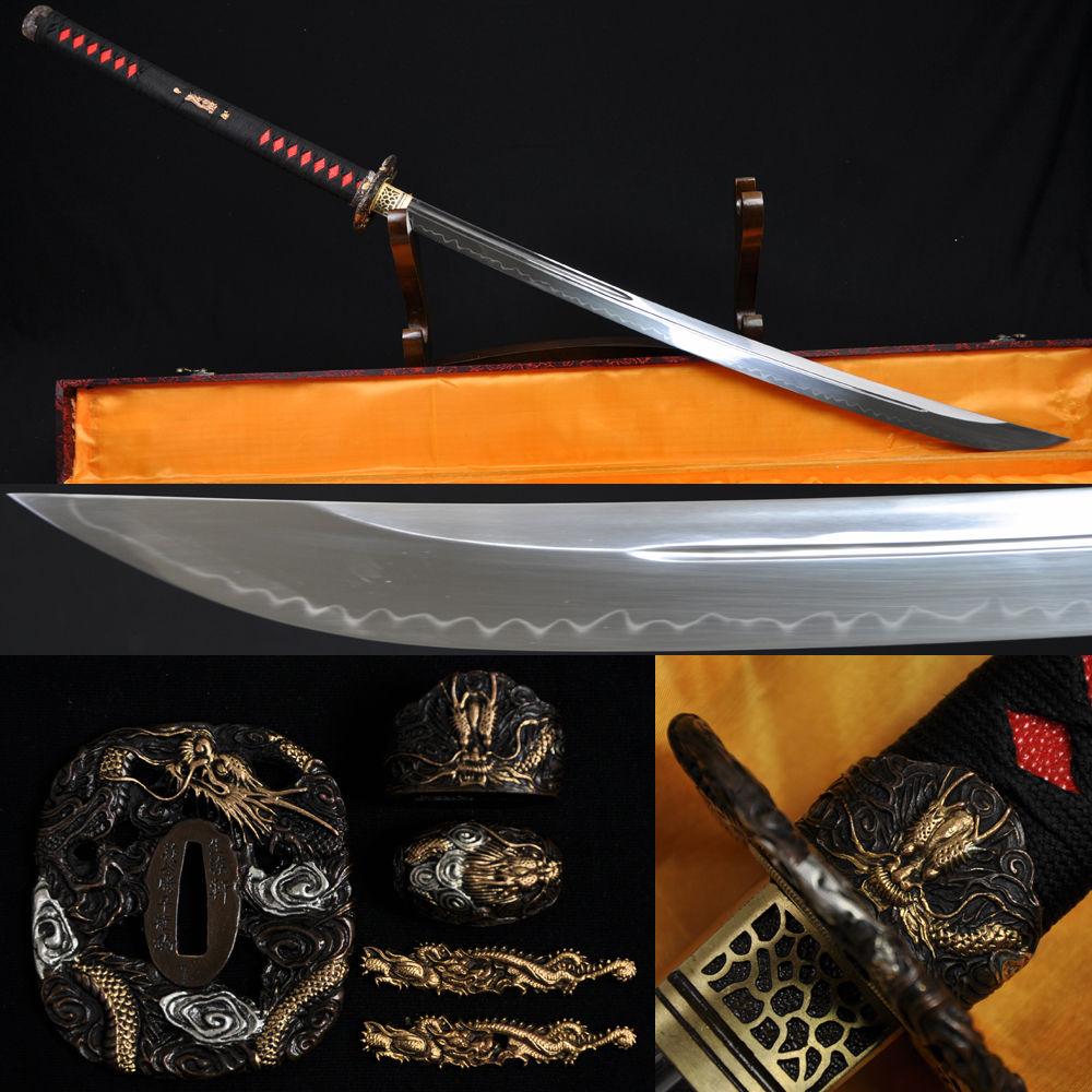 Full Tang 1095 High Carbon Japonský samurajský meč Naginata Clay Tempered Unokubi-Zukuri Blade může řezat Mosaz stromu Drak Tsuba
