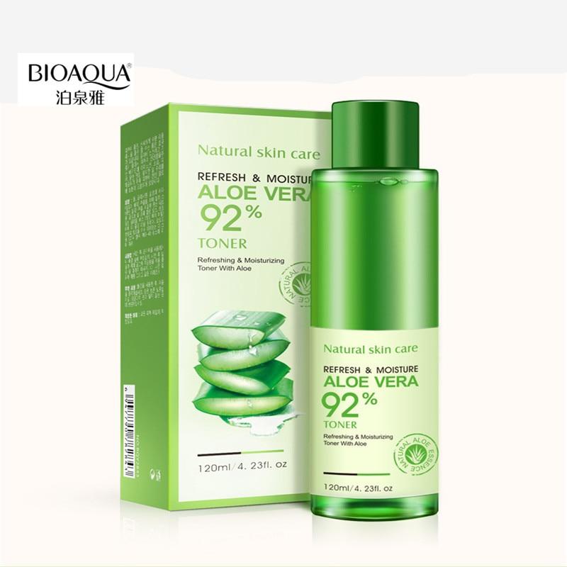 BIOAQUA 120ml Aloe Vera Facial Toner Water Enriched Nourishing Face Care Nutrition Hydrating Moisturizing Whitening Tonic Liquid premium hydra b5 toner 120ml lotion 120ml set