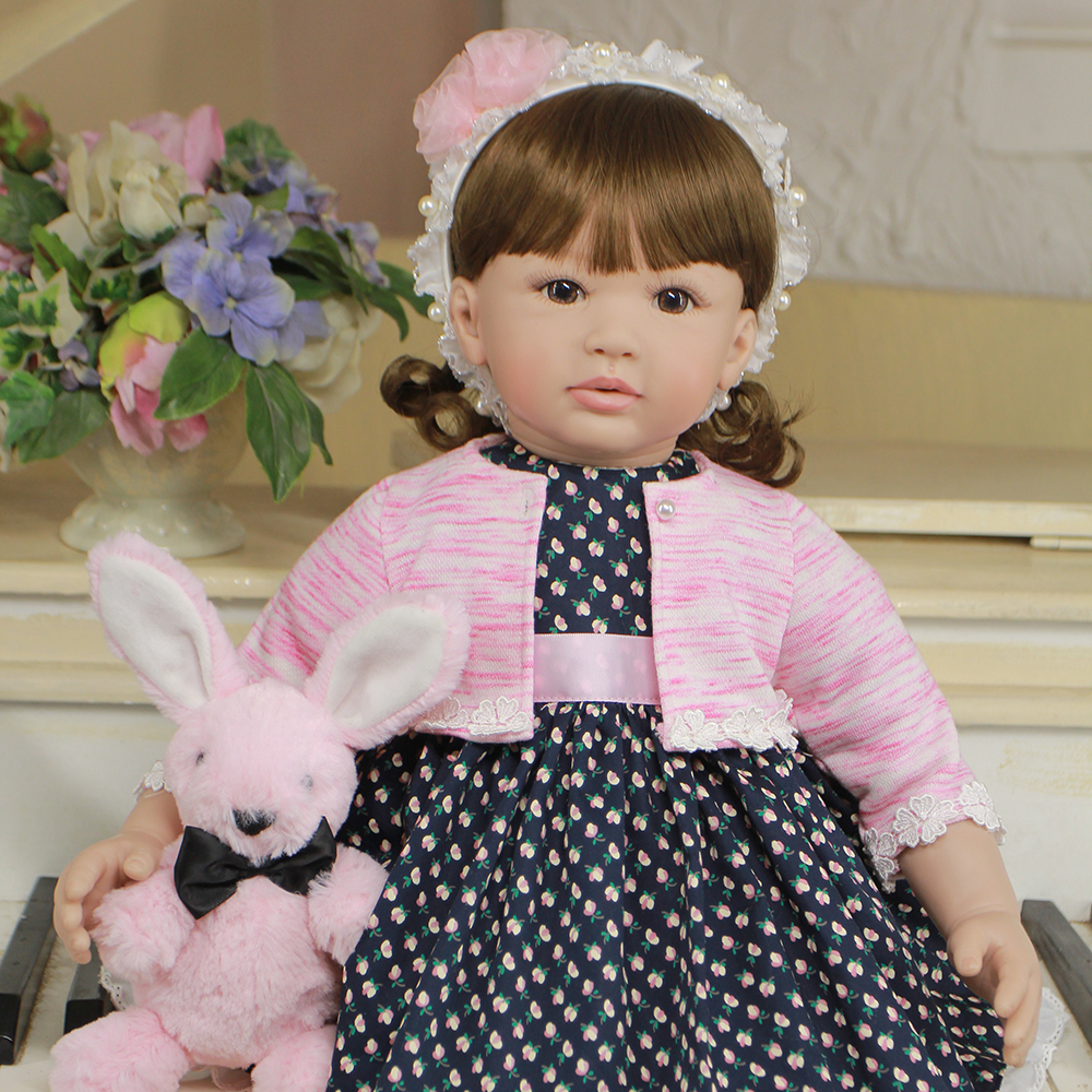 Black Floral Dress Doll Silicone Reborn Girl Baby Doll Toddler Princess Doll Toys for Girls Educational Toys for Birthday Gifts 52cm shoulder length hair reborn toddler baby girl doll smling princess girl doll in flower dress girls toys birthday xmas gifts