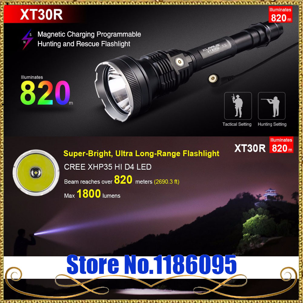 Free Shipping 1SET Klarus XT30R LED Flashlight 1800 Lumens CREE XHP35 HI D4 LED 6 Mode Torch Camping Waterproof Flashlight new klarus xt11gt cree xhp35 hi d4 led 2000 lm 4 mode tactical led flashlight free usb port and 18650 battey for self defence
