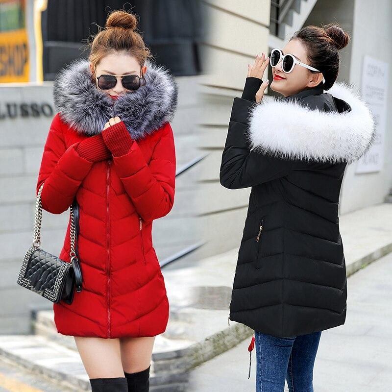 Winter Coat Women 2018 New Fashion Winter Jacket Women Fake Raccoon Fur Collar Women Parkas Warm Down Jacket Female outerwear