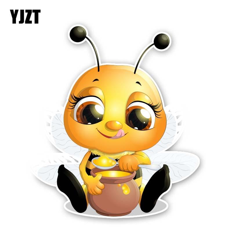 YJZT 13.7CM*15.9CM Bees That Eat Honey PVC Decal Car Sticker 12-300557