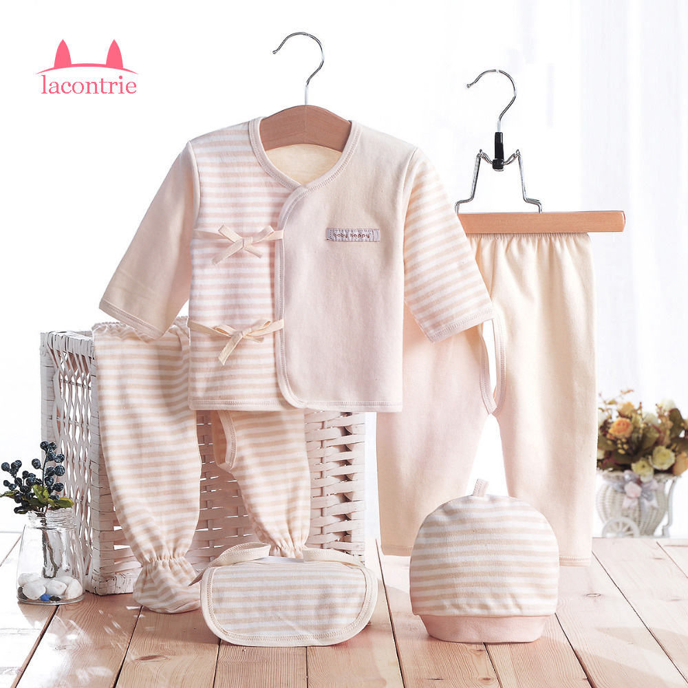 5pcs/set Newborn Baby 0-3M Brand Boy Girl Warm Clothes Set 100% Cotton Striped Infant Soft Underwear Baby Clothing Set 2pcs set baby clothes set boy