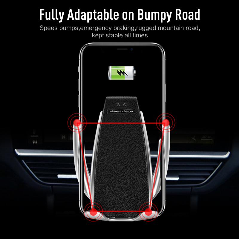 Auto Clamping Wireless Charging iPhone Android Carr Vehicle Mount