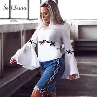 Self Duna 2017 Summer Women White Blouse Elegant Lace Up Sexy Long Sleeve Top Female Blouse