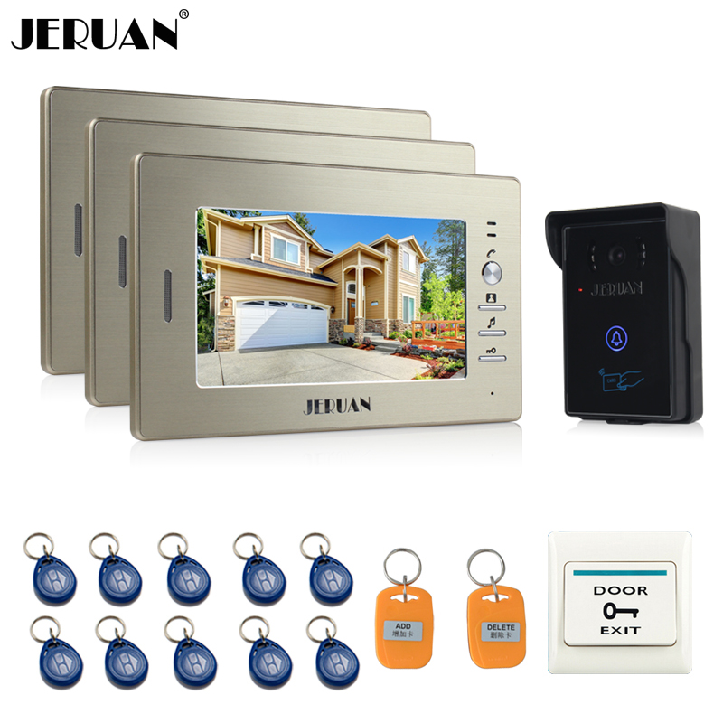 JERUAN 7`` LCD Screen Video Intercom Video Door Phone System 3 monitors + 700TVL RFID Access Waterproof Touch key Camera jeruan home wired 7 lcd video door phone intercom system 700tvl rfid waterproof touch key password keypad camera free shipping