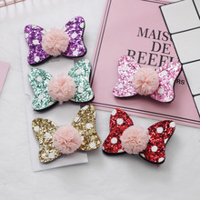 Korean Simple Cute Yarn Ball Bowknot Hairpins Child Girl Fashion Beautiful Sequins Mickey Point Princess Hair Accessories 6cm