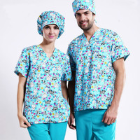 New shelves! Pet Hospital Clinic Doctor Scrub Kit 100% Cotton Print Blue Medical Work Clothing Set,