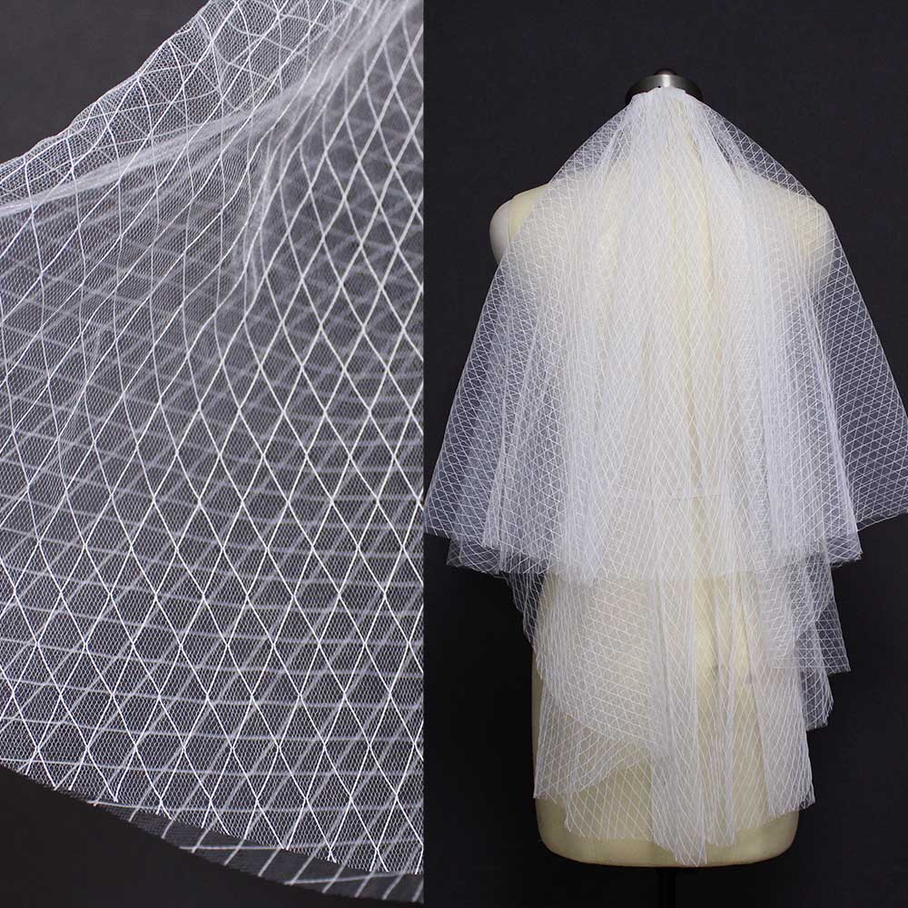 Ivory Soft Diamond Check Tulle 2 Layers Short Wedding Veil Elegant Cover Face 2T Bridal Veil With Comb Wedding Accessories