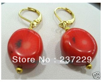Wholesale price FREE SHIPPING ^^^^ Hot sell! Fashion big Natural Red coral waggle earrings a pair