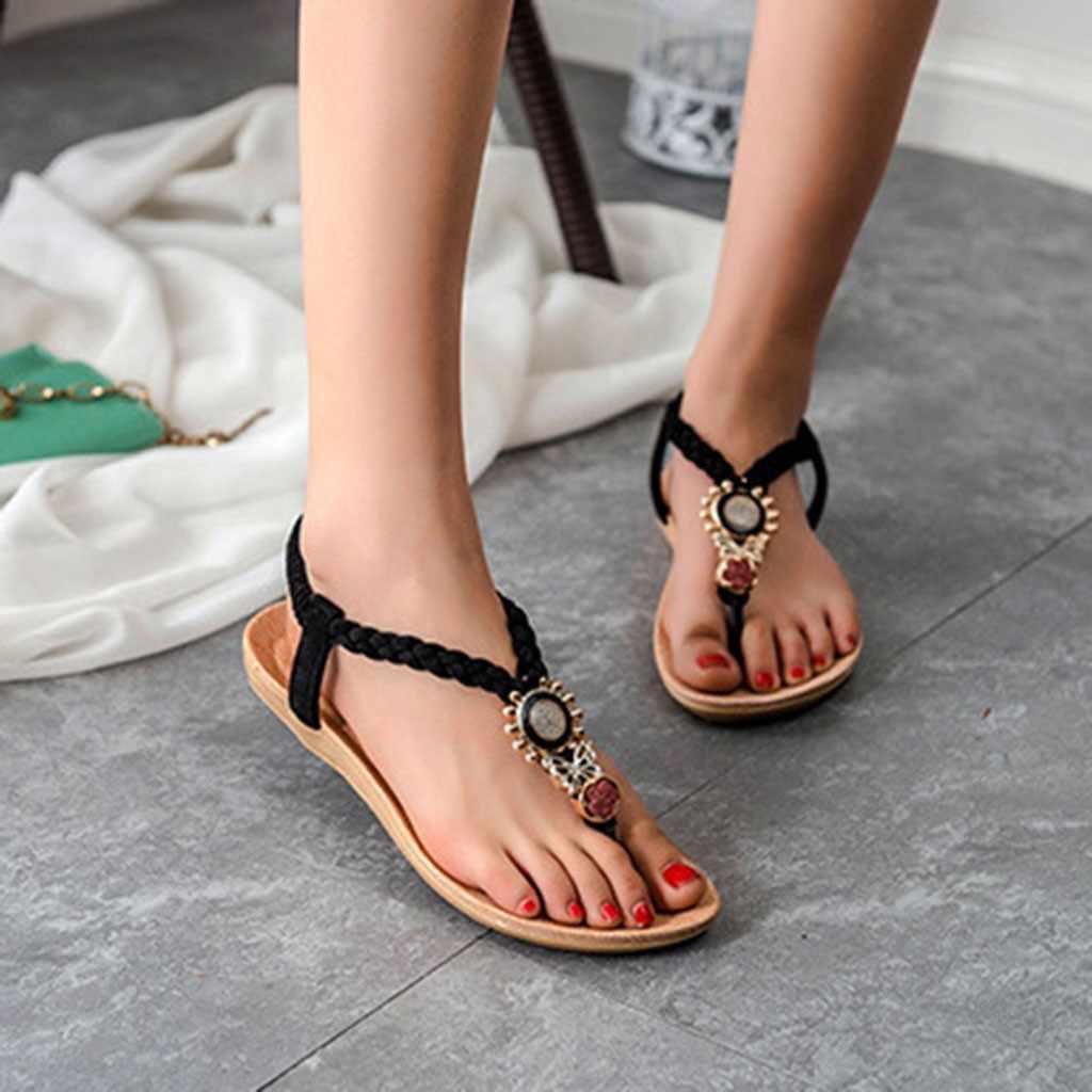 Для женщин сандалии группы Bohemia девушка Для женщин модные кожаные с камнями, стразами сова милые босоножки сандалии на ремешках Путешествия Пляжная обувь