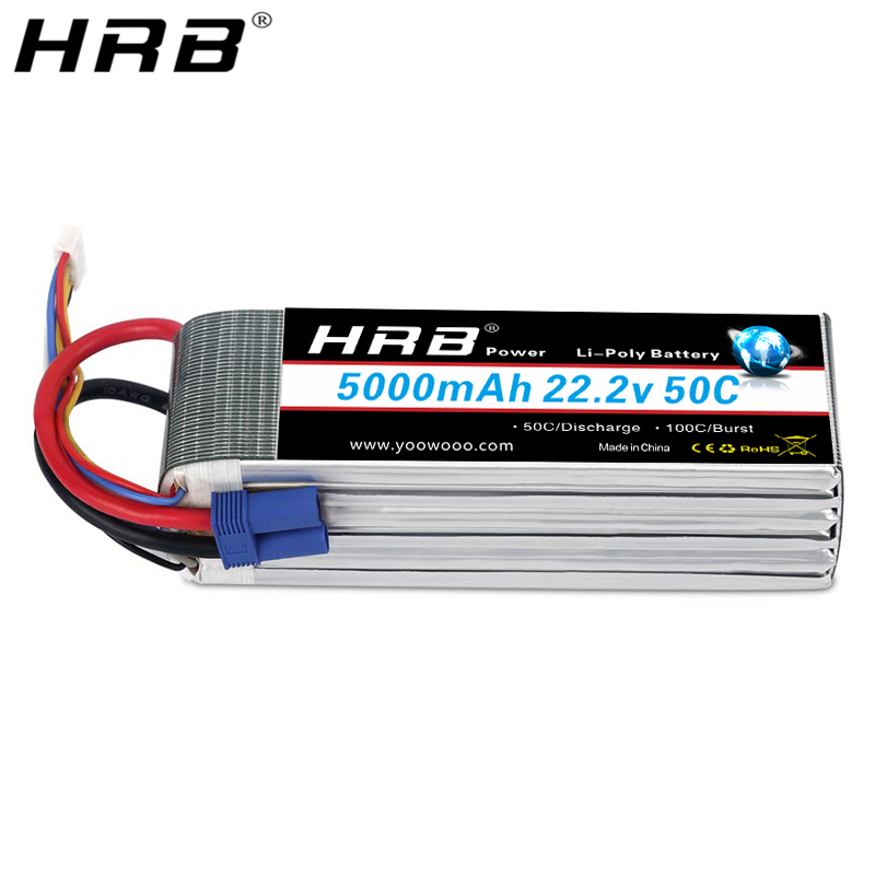 HRB 22.2V <font><b>5000mah</b></font> Lipo <font><b>6S</b></font> Battery EC5 T Deans XT60 TRX XT90 For Quadcopter FPV Airplanes Buggy Cars Catamaran Boat RC Parts 50C image