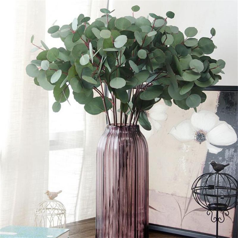 Artificial Decorations Artificial Plants Lanlan Simulate Round Eucalyptus Leaves Rattan For Wedding Background Wall Decor