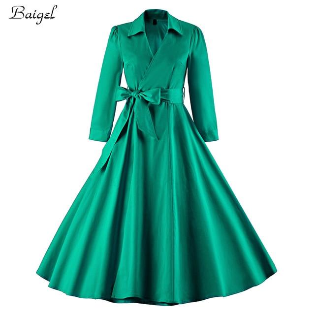 Frauen Langarm Herbst Winter Kleid Schwarz Grun Robe Vintage Pin Up