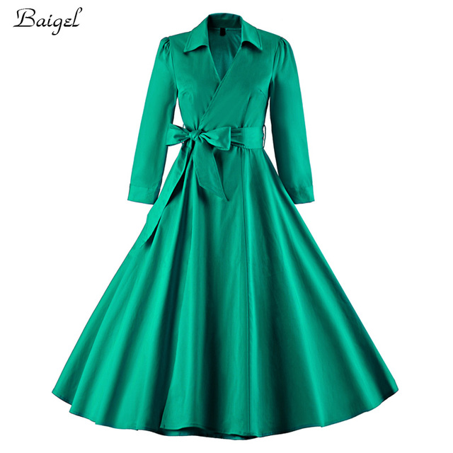Womens Long Sleeve Autumn Winter Dress Black Green Robe