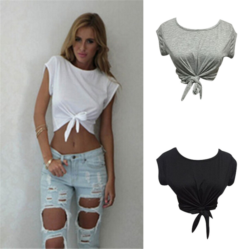 Women Knotted Tie Front Crop Tops Cropped T Shirt Casual Blouse Tanks Camis White Grey Color(China)