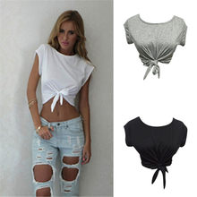 1f34308c9 Summer Style Women Knotted Tie Front Crop Tops Cropped T Shirt Casual Blouse  Tanks camis White
