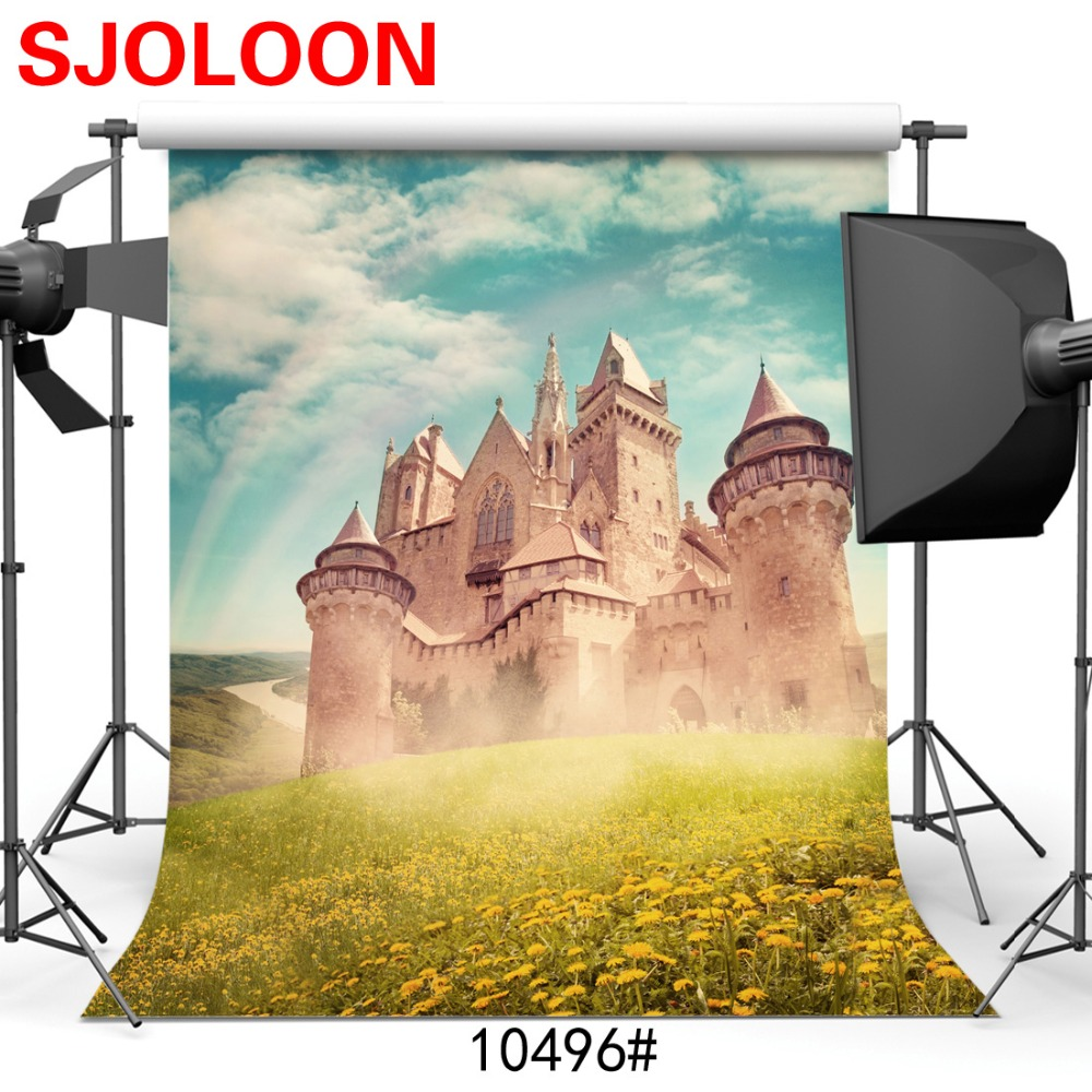 SJOLOON castle and sky grass photography background children and wedding photo backdrops for photo studio thin vinyl props 8x8ft