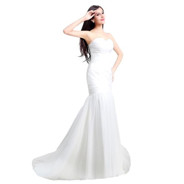 White Mermaid Wedding Dress Top Sale Simple Vintage Bridal Gowns 2016 Summer Style Dresses Vestido De Novia Real Photo