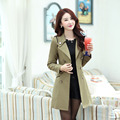 Hot Sale New 2016 Spring Autumn Overcoat Women Fashion Turn-Down Collar Double-Breasted Slim Middle-Long Trench Coat  WJ2521