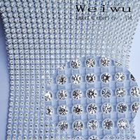 5 ярдов блестящие прозрачного хрусталя стразами Вышивание Интимные аксессуары полые имитация Пластик со стразами Отделка