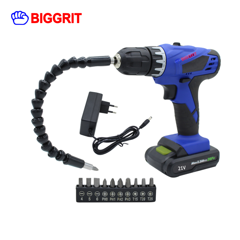 BIGGRIT Household DIY Woodworking Lithium Battery Cordless Drill Driver Screwdriver Power Tools Electric Drill Power Drill 18v dc lithium ion battery cordless drill driver power tools screwdriver electric drill with battery included