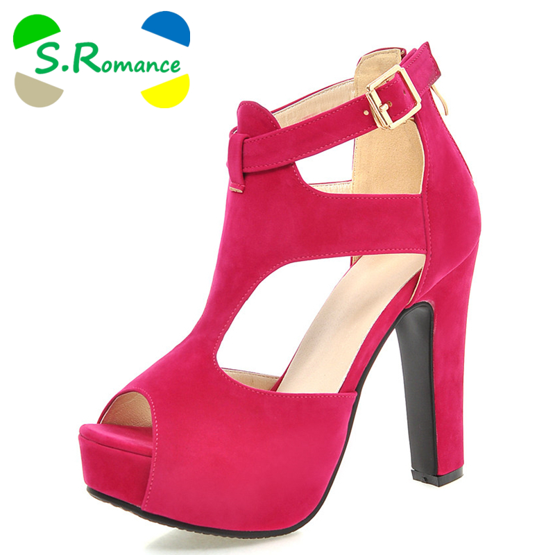 S.Romance Women Sandals Plus Size 32 43 New Fashion Summer Zip High Heel Pumps Platform Woman Shoes Black Apricot Red SS697-in High Heels from Shoes    1