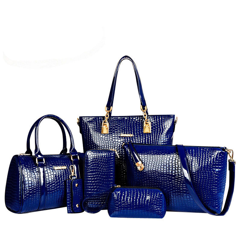 ФОТО  women handbag 5 sets vintage printed artificial leather tote bag large shoulder bags ladies purses and handbags