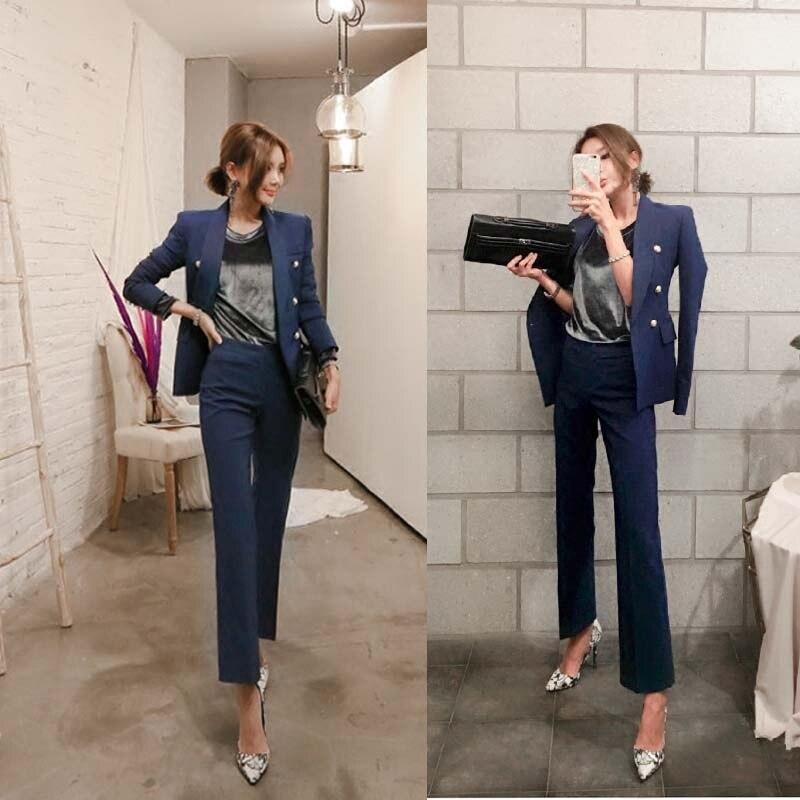 Ensemble Féminin Cloche De Nouveau Deux 2018 pièce Femmes 2 Costume Tempérament Dames 1 Petit Style Taille Veste Pantalon Slim nEpHwvwx