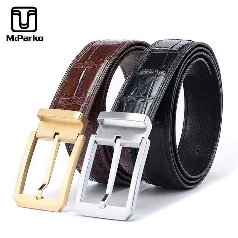 McParko Luxury belt genuine leather crocodile leather belt men Fashion Stainless steel pin buckle dress belt