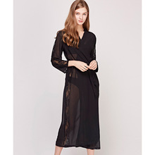 Fashion New Silk Sleeping Robes Women Long-Sleeve Faux Sleepwear Female  Sexy Lace Long Bathrobe Comfortable Soft T0508
