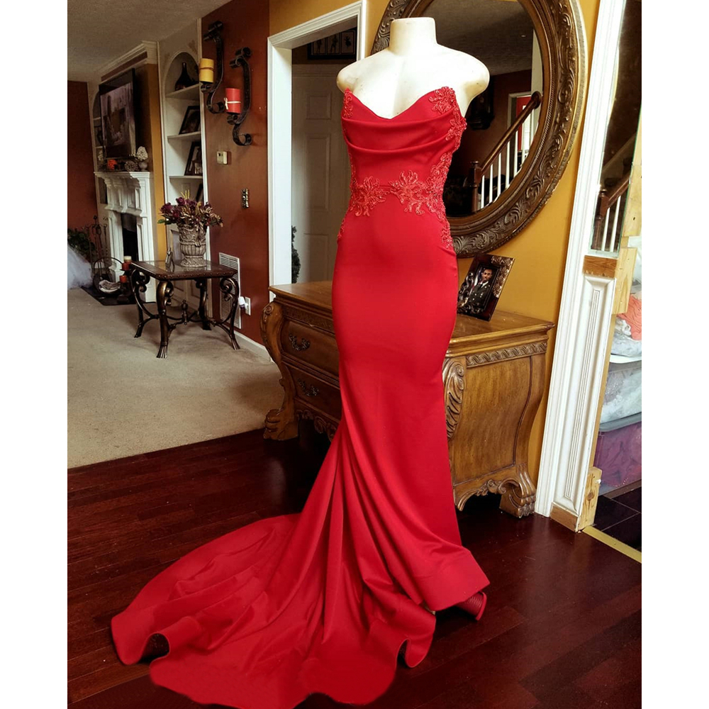 Sexy Strapless Cut Out Red Mermaid   Evening     Dress   2019 High Quality Elastic Satin Beaded Appliques Long Formal   Dresses   Cheap